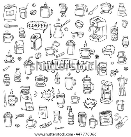 Hand drawn doodle Coffee time icon set Vector illustration isolated drink symbols collection Cartoon various beverage element: mug, cup, espresso, americano, irish, decaf, mocha, coffee making machine - stock vector