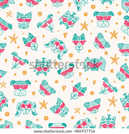 Hand Drawn Doodle Cute Stylish Trendy Hipster Dogs with Sunglasses Vector Seamless pattern