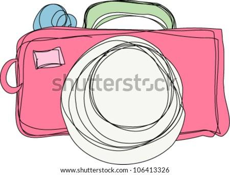 hand drawn doodle digital camera illustration - stock vector