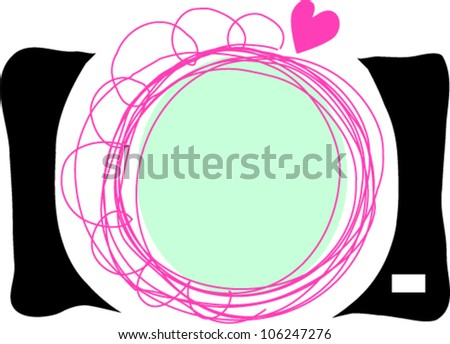 hand drawn doodle digital camera illustration with little love heart - stock vector