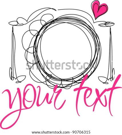hand drawn doodle digital camera illustration with love heart - stock vector