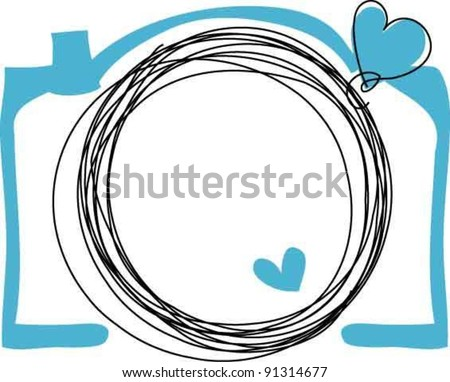 hand drawn doodle digital camera illustration with two love heart - stock vector