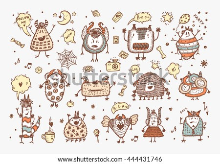 Hand Drawn Doodle Fictional Fabulous Creatures Characters for Kids. Cute Cartoon Colored Monsters or Aliens Vector Set. - stock vector