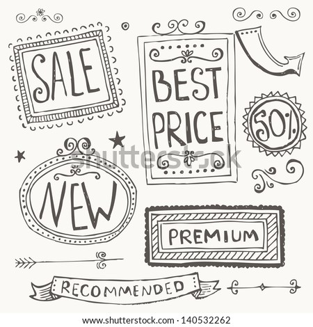 Hand Drawn Doodle Frames and Design Elements - stock vector