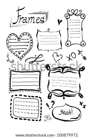 Hand drawn doodle frames set. - stock vector