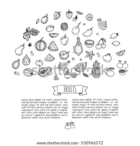 Hand Drawn Doodle Fruits Icons Set Stock Vector 530966572 Shutterstock