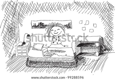 hand drawn doodle girl being very happy - stock vector