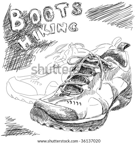 hand drawn doodle hiking boots vector - stock vector
