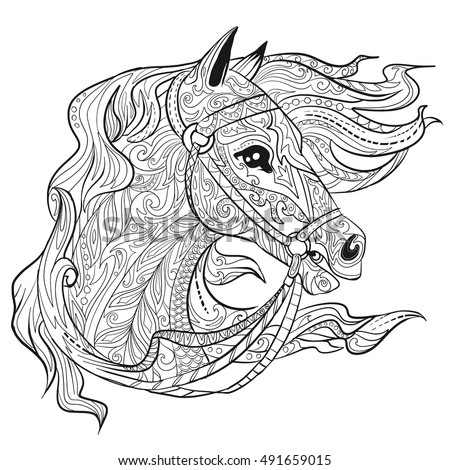Hand Drawn Doodle Horse Face Page