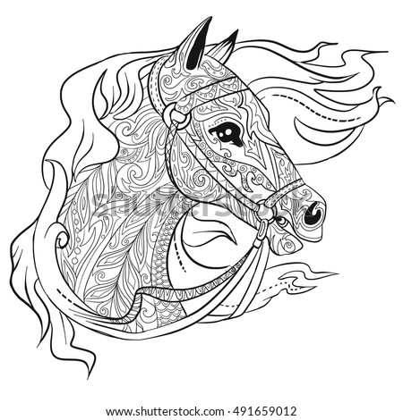 Horse Head Coloring Page Stock Images, Royalty-Free Images ...
