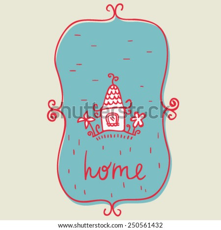 hand drawn doodle house in frame, retro colors, isolated design object - stock vector