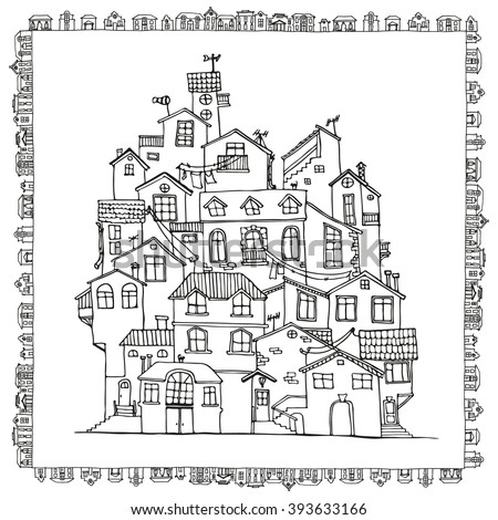 hand drawn doodle houses in black and white adult coloring page zentangle coloring book