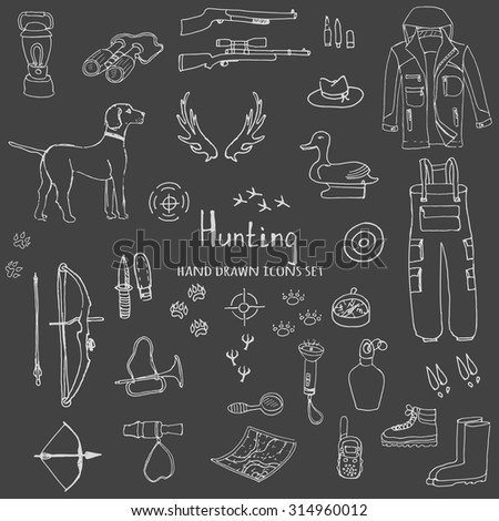 Hand drawn doodle hunting set. Vector illustration. Sketchy hunt related icons, hunting elements, hunting dog, gun, crossbow, hunting wear cloths, boots, plastic sitting duck, binoculars - stock vector