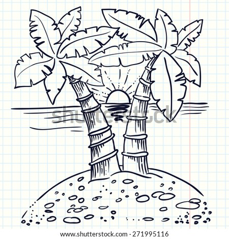 Hand-drawn doodle illustration of island with palms - stock vector