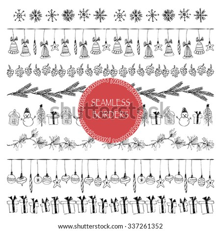 Hand drawn doodle illustration. Vector lineart black ink borders. Stripe ornaments and Illustrator pattern brushes included. Snowflakes, fir-tree branch, snowman, christmas balls, cones, present box. - stock vector