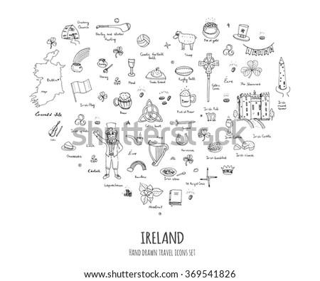 Hand drawn doodle Ireland set Vector illustration Sketchy Irish traditional food icons Republic of Ireland elements Flag Map Celtic Cross Knot Castle Leprechaun Shamrock Harp Pot of gold Travel icons - stock vector