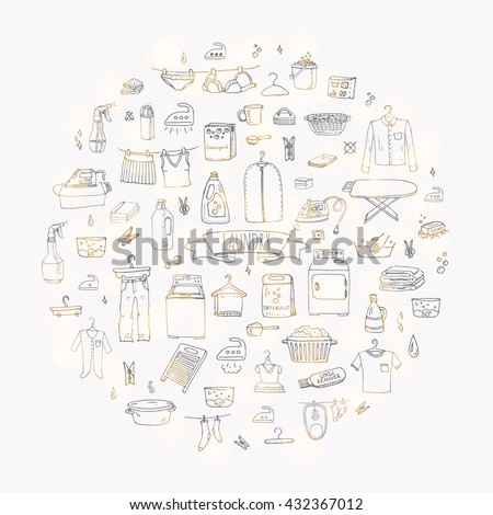 Hand drawn doodle Laundry set Vector illustration washing icons Cleaning garment business concept elements Symbols collection Housework Equipment and facilities for washing, drying and ironing clothes - stock vector