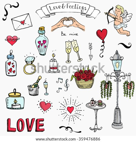 Hand drawn doodle Love and Feelings collection Vector illustration Sketchy Love icons Big set of icons for Valentine's day, Mothers day, wedding, love and romantic events Hearts hands Cupid Flowers - stock vector