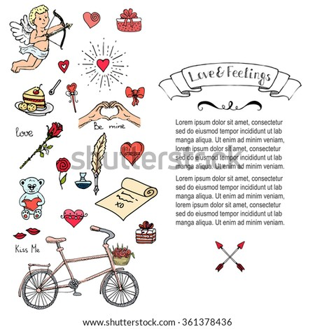 Hand drawn doodle Love and Feelings collection Vector illustration Sketchy Love icons Big set of icons for Valentine's day, Mothers day, wedding, love and romantic events Hearts hands cupid Bicycle - stock vector