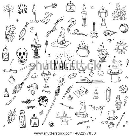 Hand Drawn Doodle Magic Set Vector Stock Vector 402297838 Shutterstock