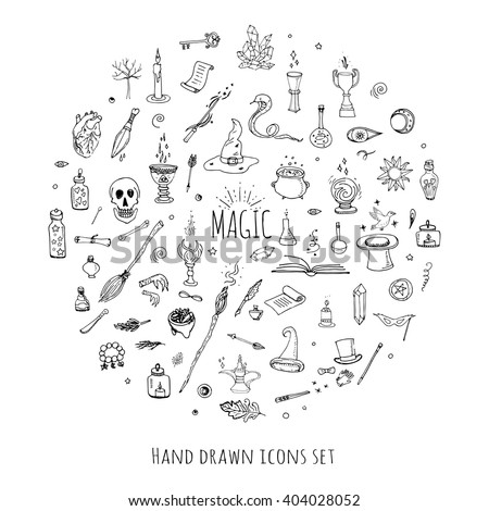 Hand drawn doodle Magic set Vector illustration wizardy, witchcraft symbols Isolated icons collections Cartoon sorcery concept elements Magic wand Love potion Fairy book Fairy tale Snake Crystal ball - stock vector