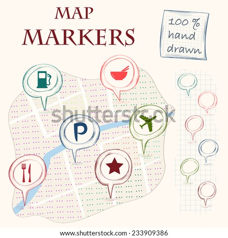 Hand drawn doodle map markers and flat navigation icons. Abstract city map illustration. Vector illustration. - stock vector