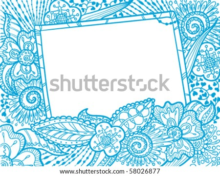 Hand drawn doodle monochrome frame decorate by floral ornament