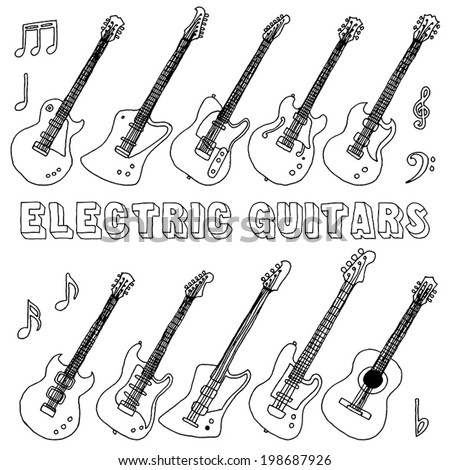Hand drawn doodle musical instruments. Electric guitars. Vector illustration.   - stock vector