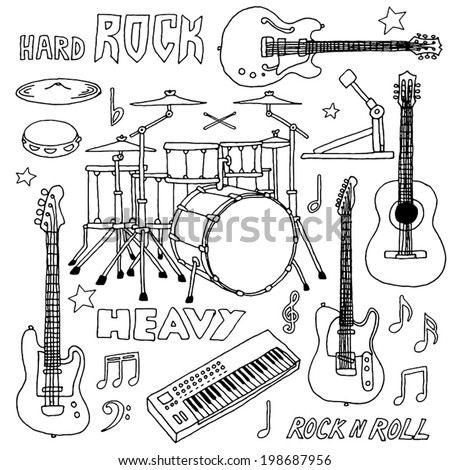 Hand drawn doodle musical instruments. Rock band set. Vector illustration.   - stock vector