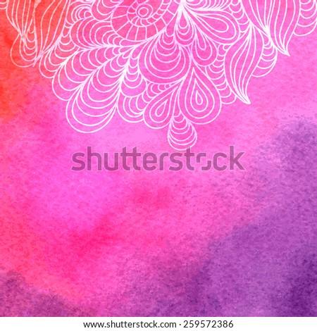 Hand drawn doodle on colorful watercolor background, vector illustration - stock vector