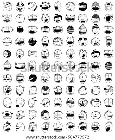 Hand Drawn Doodle Outline Cartoon Monster Stock Vector 504779572