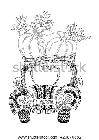 Hand drawn doodle outline farm car travel decorated with ornaments.Vector illustration.Floral ornament.Sketch for tattoo or coloring pages.Boho style. - stock vector