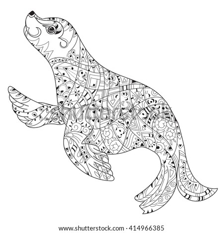 hand drawn doodle outline sea lion decorated with ornamentsvector zentangle illustrationfloral ornament
