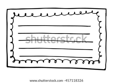 hand drawn doodle paper sheets for messages on white background - stock vector