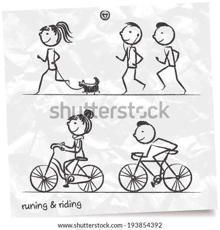 Hand drawn doodle people jogging and riding a bike - stock vector