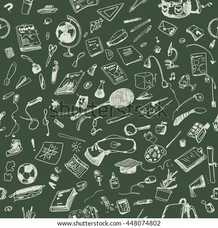 Hand drawn doodle school objects seamless pattern. Chalk outlined objects, green blackboard. Learning, study, poster, flyer, design.