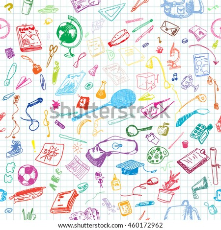 Hand drawn doodle school objects seamless pattern. Colored pen objects, notebook background. Learning, study, poster, flyer, design.