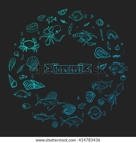 Hand drawn doodle Seafood icons set Vector illustration food symbols collection Cartoon fish Crab Lobster Oyster Shrimp Prawn Shellfish Shrimp on black background for your menu or restaurant design - stock vector