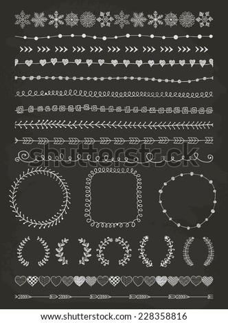 Hand-Drawn Doodle Seamless Borders and Design Elements. Decorative Flourish Frames, Brackets. Vector Illustration. Chalk Drawing. Pattern Brushes - stock vector