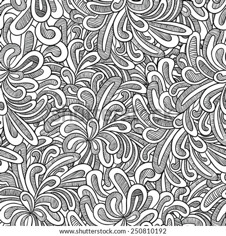 Hand-drawn doodle seamless pattern - stock vector