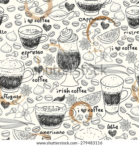 Hand drawn doodle seamless pattern. Coffee cups, coffee beans, spices, vanilla, cinnamon, clove, star anise, cookies for menu design. Coffee background with grungy stains.  - stock vector
