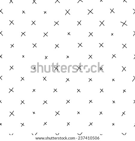 hand-drawn doodle seamless pattern with crosses - stock vector