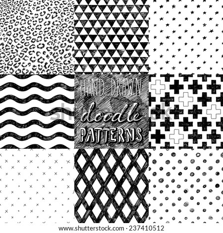 hand-drawn doodle seamless patterns collection  - stock vector