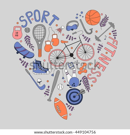 Hand-drawn doodle set of hobbies and sport things. drawn in the shape of a heart.  - stock vector