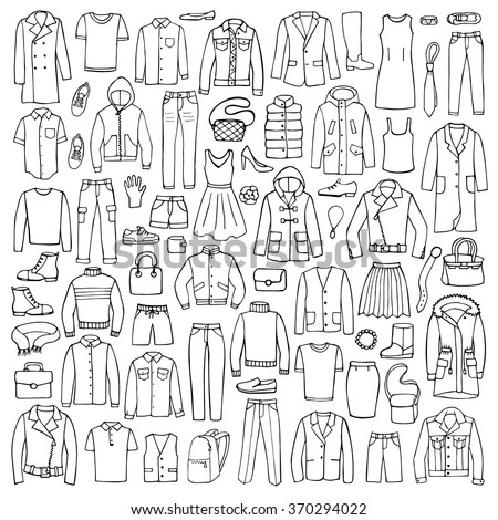 Hand drawn doodle set with man and woman clothes.  - stock vector