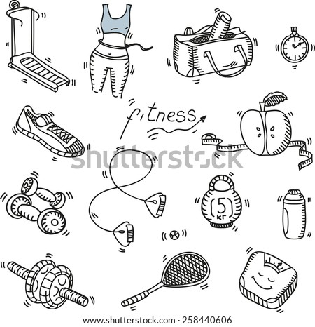 Hand drawn doodle sketch icons set fitness and sport concept healthy nutrition lifestyle, diet. - stock vector