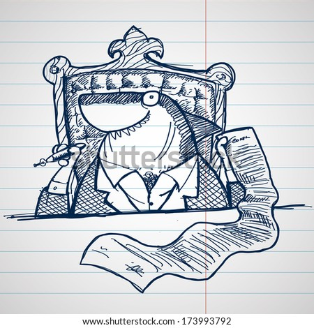 hand drawn doodle, sketch style vector illustration  business shark, contract