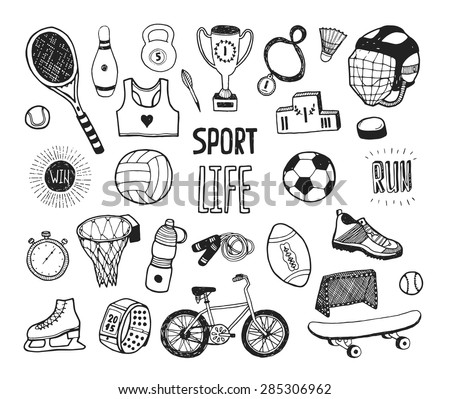 Hand drawn doodle sport collection. Vector sport icons, cycling, skating, soccer, bowling, golf, tennis, baseball. Cartoon healthy lifestyle set - stock vector