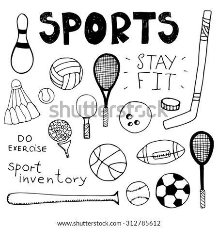 Hand drawn doodle sport inventory set - stock vector