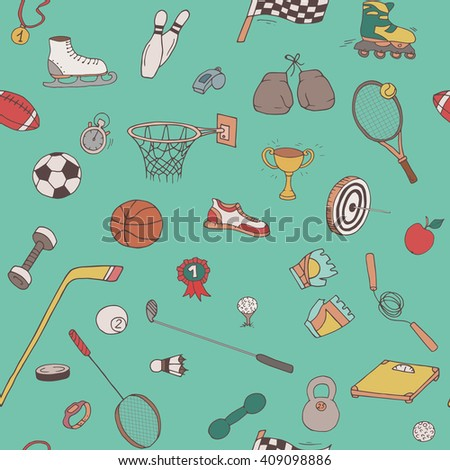 Hand-drawn doodle sport pattern. Seamless line art background with different repeated objects: balls, sneakers, flag, medals, tennis rackets etc. Colored equipment icons. - stock vector